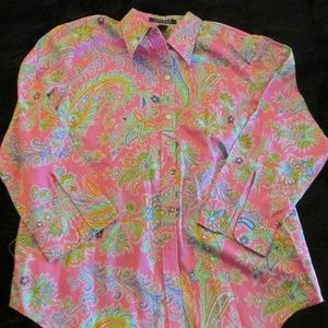 Ralph Lauren Paisley Print Blouse Size Medium